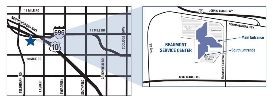 Map of the Beaumont Service Center